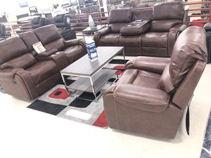 Brand new brown leather reclining sofa, loveseat and recliner chair with USB plugs $39 down for Sale in Dallas, TX