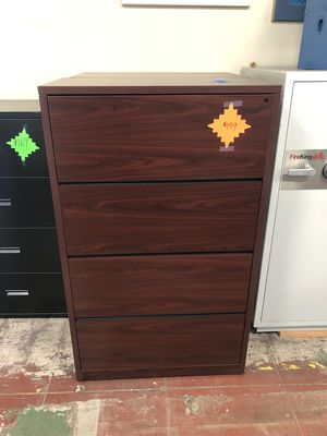 Filing Cabinet - 4 Drawer Lateral Mahogany Filing Cabinet for Sale in Portland, OR