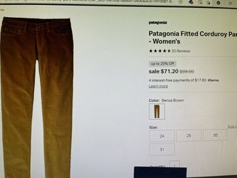 Patagonia Fitted Corduroy Pants - Women's size 26 for Sale in West Sacramento,  CA