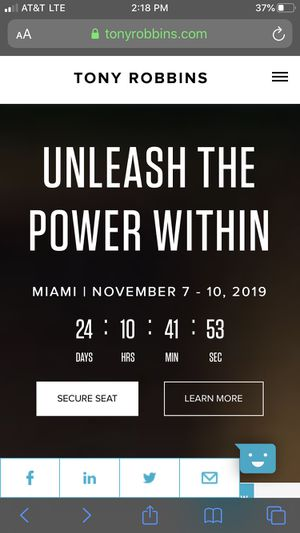 Tony Robbin's Unleash the Power Within seminar - 1 General Admission Ticket - $500 for Sale in Boynton Beach, FL