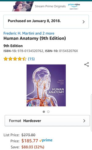 Human Anatomy 9th edition Hardcover for Sale in Modesto, CA