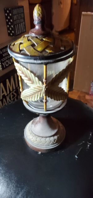Outdoor decor candle holder with palm trees for Sale in San Antonio, TX