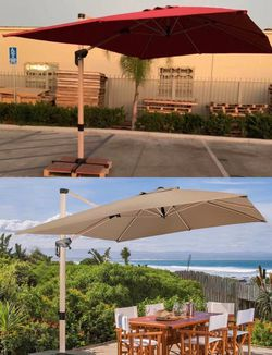 New large 11x9x8.5 feet tall diameter cantilever offset roma outdoor patio umbrella tilt and crank 360 degrees rotation burgundy red umbrella cover i for Sale in San Dimas,  CA