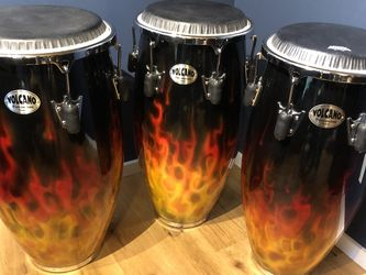 Volcano Percussion Congas, Tom Alexander, flame series, Conga Drums, Quinto, Conga, Tumba for Sale in Lynnwood,  WA