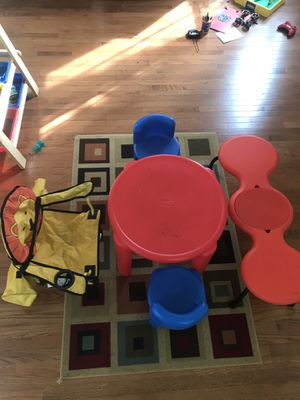 Kids Little Tikes table, chairs and beetle bench for Sale in Kirkland, WA