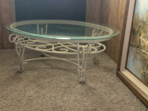 Distressed white wrought Iron coffee table for Sale in Riverside, CA