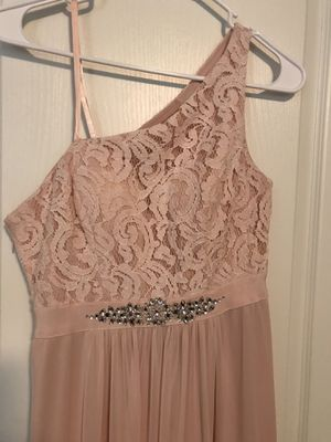 Adrianna Papell one shoulder blush pink long prom dress OBO for Sale in Haymarket, VA