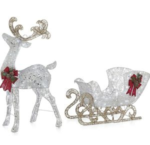 4 Feet Pre-Lit LED Light Up Reindeer and Sleigh Set, Holiday Decoration for Sale in Los Angeles, CA