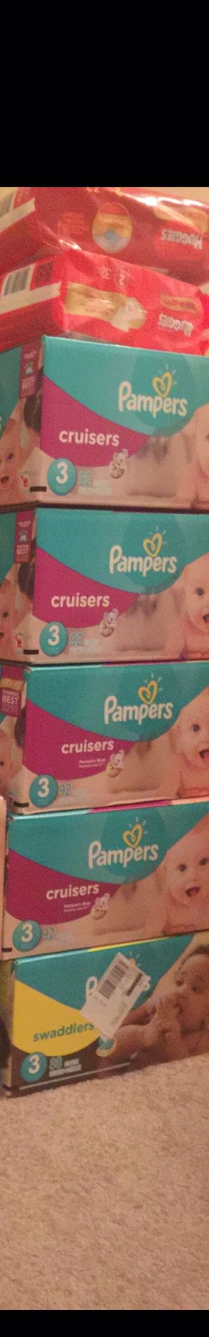 Pampers size 3 25.00 each case.... pack of size 1 packs $7.00 each for Sale in Raleigh, NC