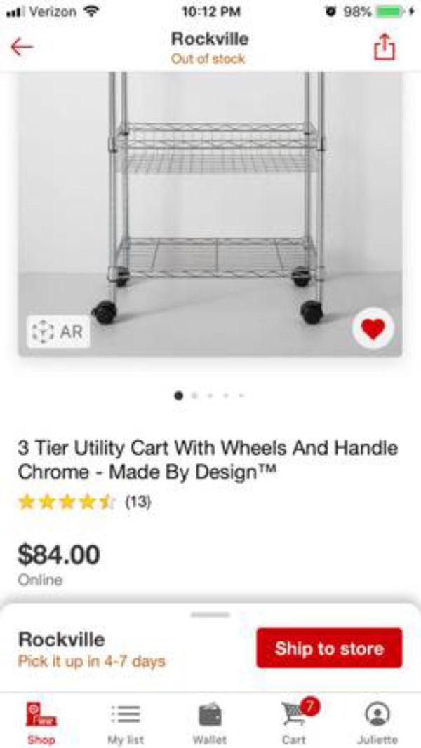All purpose utility cart/storage rack/bar cart/plant cart/kitchen cart