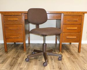 Solid Wood Midcentury Teacher's Desk and Chair. Delivered for Sale in Tacoma, WA