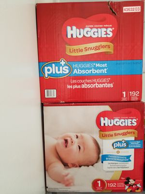 Huggies plus+ size 1= 2 boxes of 192 diapers for Sale in Hollywood, FL