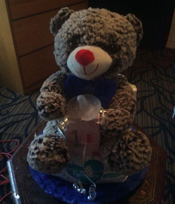 New Teddy Bear Diaper Cake for a Boy