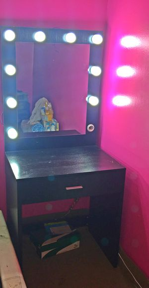 Tribesigns Vanity Set with Lighted Mirror, Makeup Vanity Dressing Table Dresser Desk with Large Drawer for Bedroom, for Sale in Washington, DC