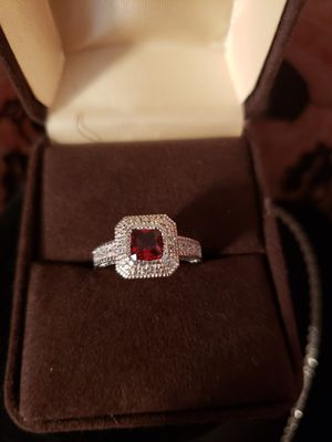 Sz 7 Hand made solid silver cz ruby and white topaz... for Sale in Meriden, CT