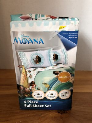 Disney moana 4 pc full sheet set new for Sale in Bainbridge, PA
