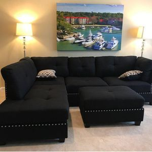 New black linen sofa sectional with ottoman 104x75 for Sale in Boca Raton, FL