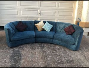 Beautiful long Curved sofa COMFY. BLUEY VELVET 2 pieces for Sale in Las Vegas, NV