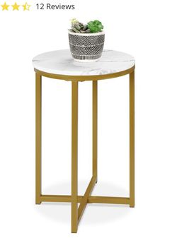 Round Coffee Side Table w/ Faux Marble Top, Metal Frame - 16in for Sale in Cleveland,  OH