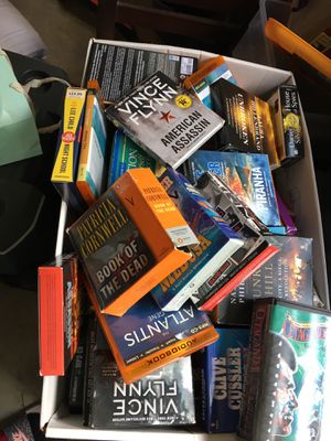 Big box of books on tape cds for Sale in Tigard, OR