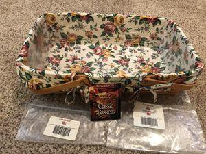 Longaberger Medium Gathering Basket with Garden Splendor Liner and Plastic protector for Sale in Bellevue, WA