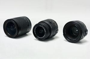 NIKON DSLR PHOTO / VIDEO LENSES - LOT OF 3 - 50mm / 18-55mm / 28-100mm for Sale in Sacramento, CA