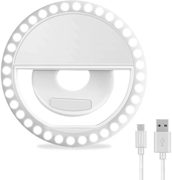 Selfie Ring Light, XINBAOHONG Rechargeable Portable Clip-on Selfie Fill Light