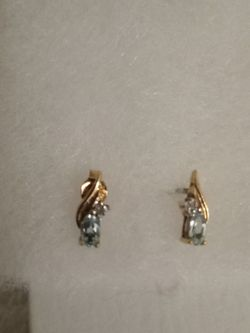 Sterling Silver Vermeil Topaz And Diamond Earrings for Sale in Tampa,  FL