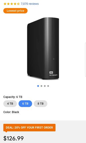 6 Terabytes WD elements external HDD for Sale in Bell Gardens, CA