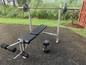 Olympic Bench with Bar with 115lbs of Weight for Sale in Port St. Lucie, FL