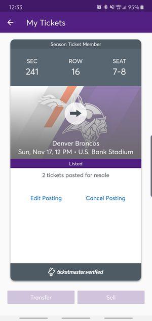 Vikes vs Broncos for Sale in Dayton, MN