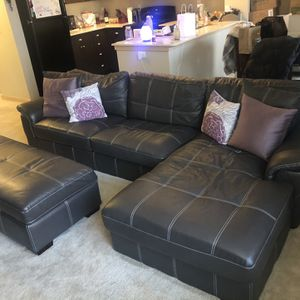 Old Cannery Leather Couch + Ottoman for Sale in Edgewood, WA