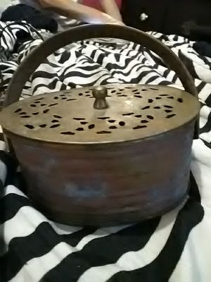 Old brass metal, oval box with lid and handle for Sale in Spartanburg, SC