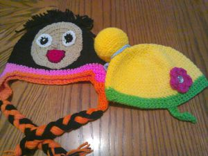 Dora and tinkerbell hand knitted hats for Sale in Austin, TX