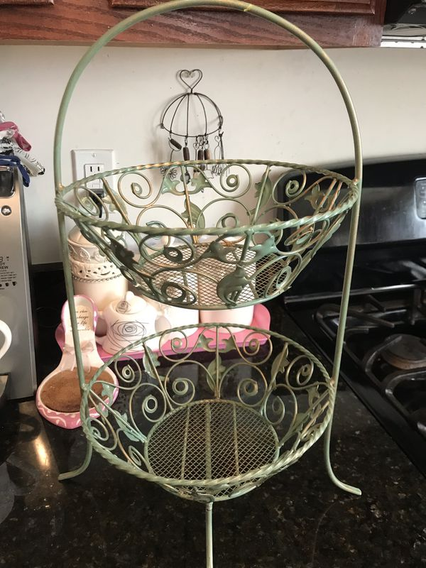 Pretty! Sage green two tier metal design fruit/ Vegetable Basket