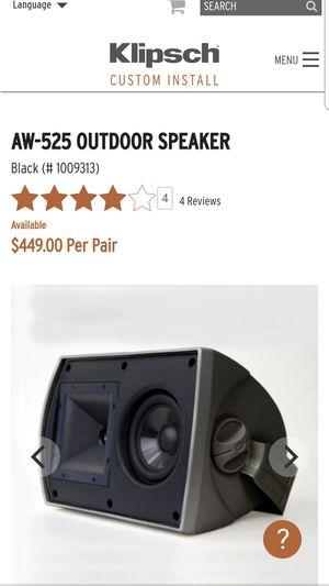 Klipsch AW -525 Oudoor speakers for Sale in Dumfries, VA