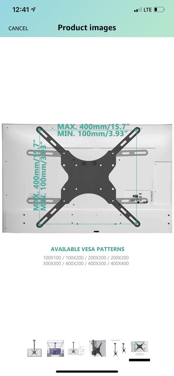 TV Ceiling Mount Adjustable Bracket Fits Most LED, LCD, OLED and Plasma Flat Screen Display 26 to 65 Inch, up to 110 Lbs,