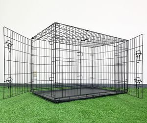 "(NEW) $65 Folding 48"" Dog Cage 2-Door Pet Crate Kennel w/ Tray 48""x29""x32"" for Sale in El Monte, CA"