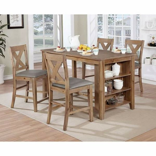 NATURAL WOOD GRAIN SURFACE COUNTRY BREAKFAST STYLE COUNTER HEIGHT DINING TABLE SET STEMWARE WINE STORAGE
