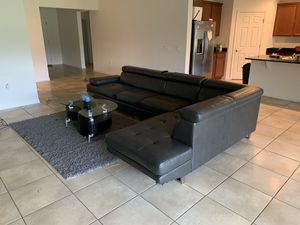 Faux leather sectional L shaped couch sofa PICKUP ONLY for Sale in Kissimmee, FL