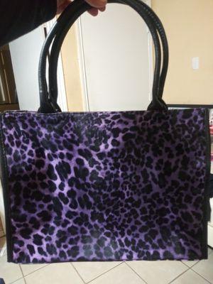 Neiman Marcus Lg Brown Tote Bag PURPLE Leopard print black trim and handles for Sale in Arlington, TX