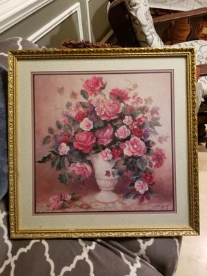 Home interiors pink, red and white flowers in vase painting. for Sale in Sterling, VA