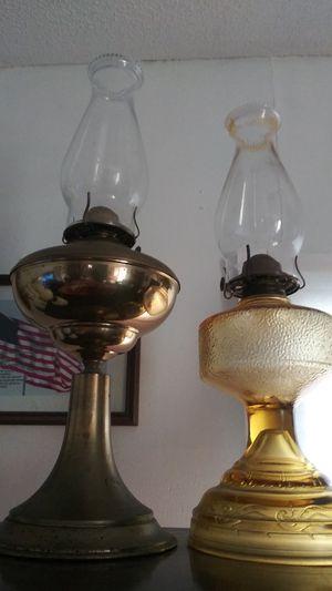 1890s Pair oil lamps kerosene p&a risdon Eagle antique brass amber glass for Sale in Clarksville, TN