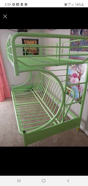 Twin futon bunk bed metal with Futon mattress no twin mattress delivery extra for Sale in North Highlands, CA