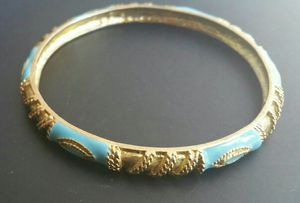 18 KT GOLD & TURQUOISE ENAMEL BANGLE BRACELET for Sale in Chicago, IL