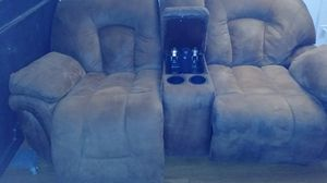 Reclining couch w storage and cup holders etc for Sale in Mesa, AZ