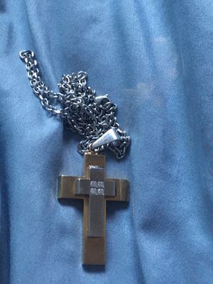 Gold Silver and diamond chain cross for Sale in Newark, CA