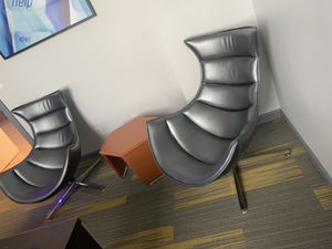 Set of Two metallic gray accent chairs with end table for Sale in West Palm Beach, FL