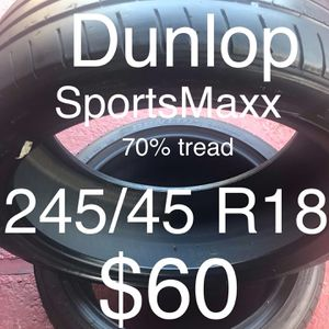 2 Dunlop tires 245/45 R18 for Sale in Union City, CA