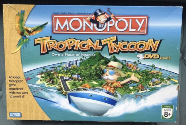 Monopoly board game Tropical Tycoon DVD Game by Parker Brothers